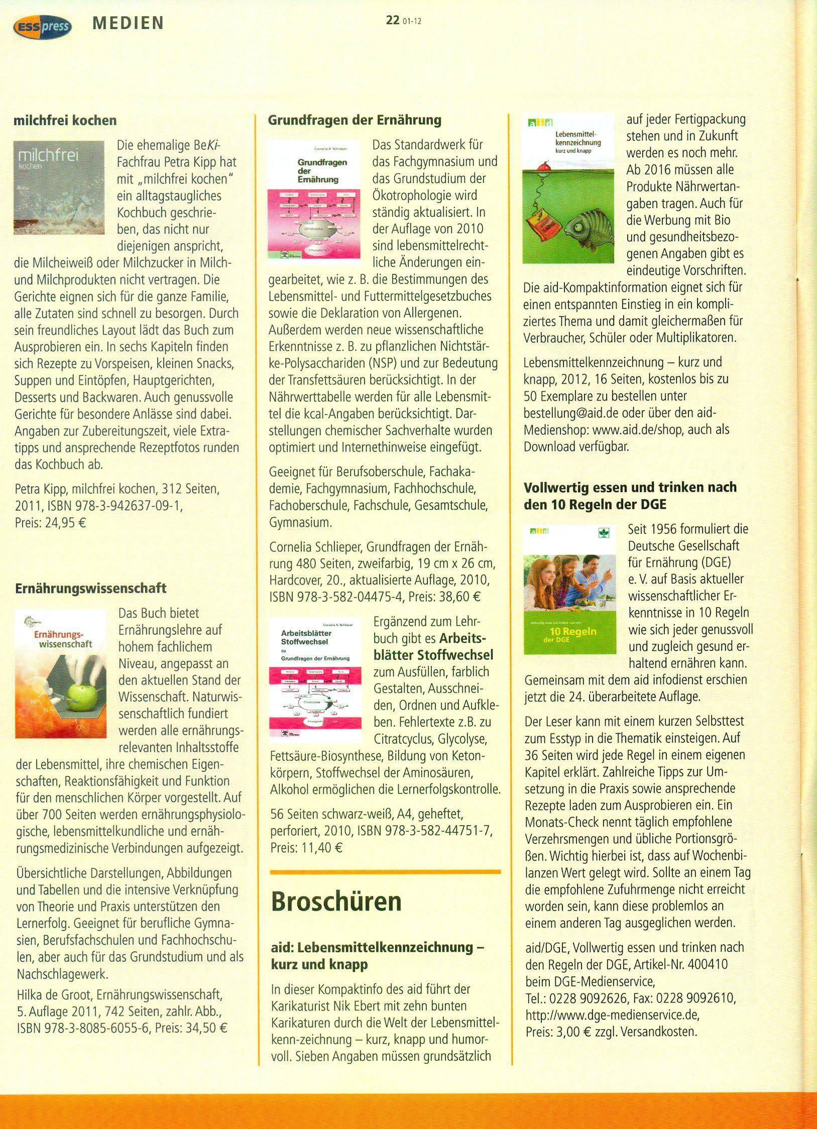 Buchvorstellung im ESSpress Medien, Landesinitiative BeKi ...